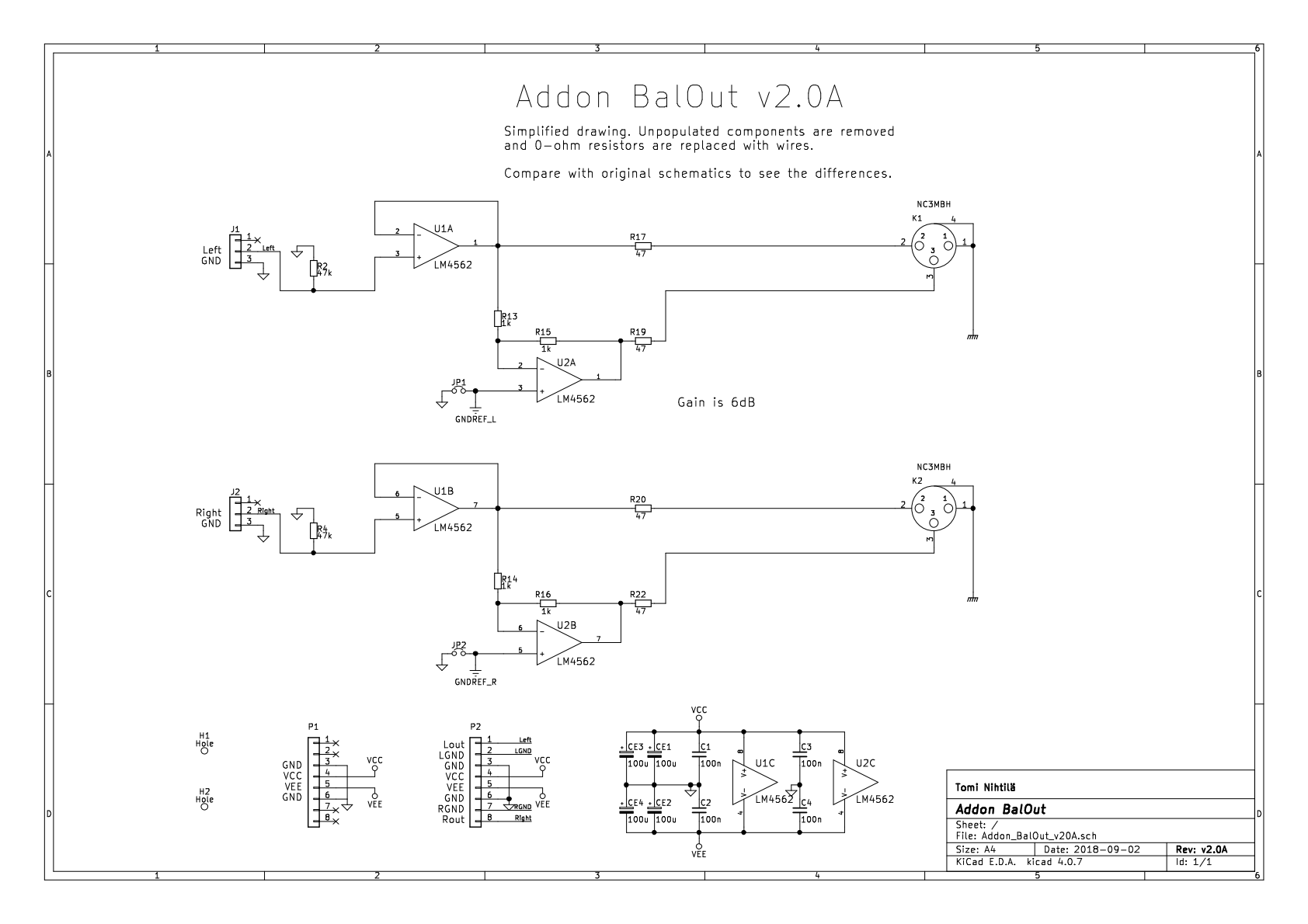Addon Balout V2 Balanced Output Board Diagram Also Headset Lifier Test Circuit Simplified Schematic V20a Schematics For Single Ended To Conversion With 6 Db Gain